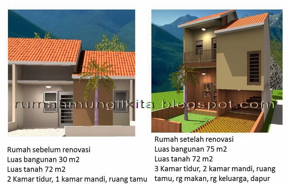 perbandingan rumah sebelum dan sesudah renovasi tipe 30 tanah 72