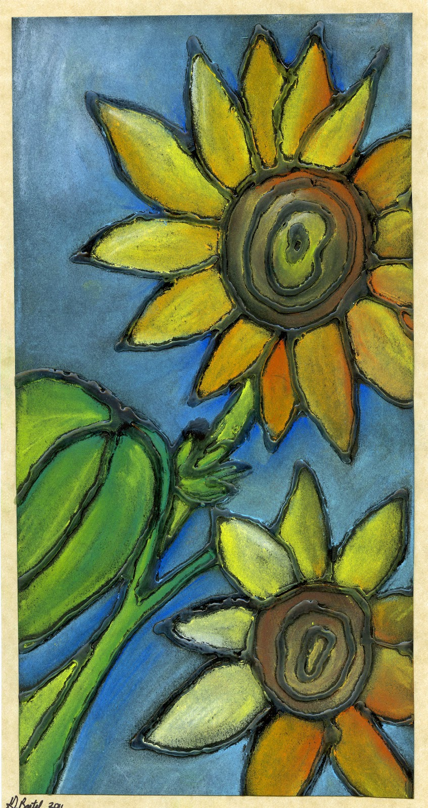 that artist woman chalk pastel sunflowers