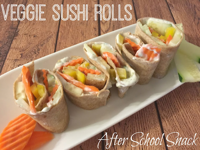 Veggie Sushi Rolls - After School Snacks, after school snacks, creative lunches for school, lunch box creations, Kids Sushi, Veggie sushi rolls for kids