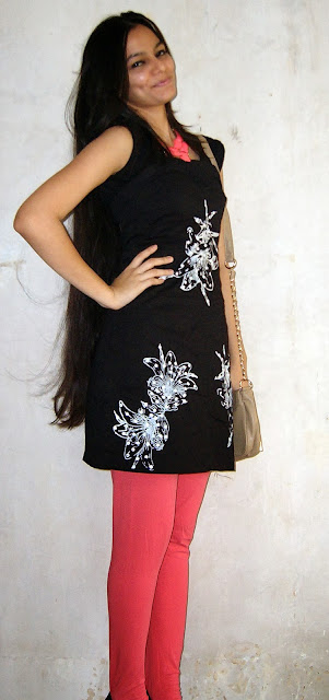 indian outfits, indian party outfits, little black dress, street shopping, colaba causeway, neon necklace, neon pink tights, neon pink outfit, detailed black dress