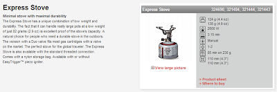 information and data on the primus express stove from their website