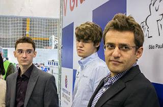 Echecs à Sao Paulo : Fabiano Caruana, Magnus Carlsen et Levon Aronian