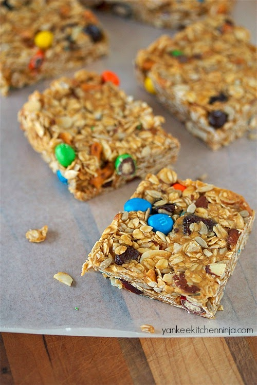 no bake, low guilt trail mix snack bars
