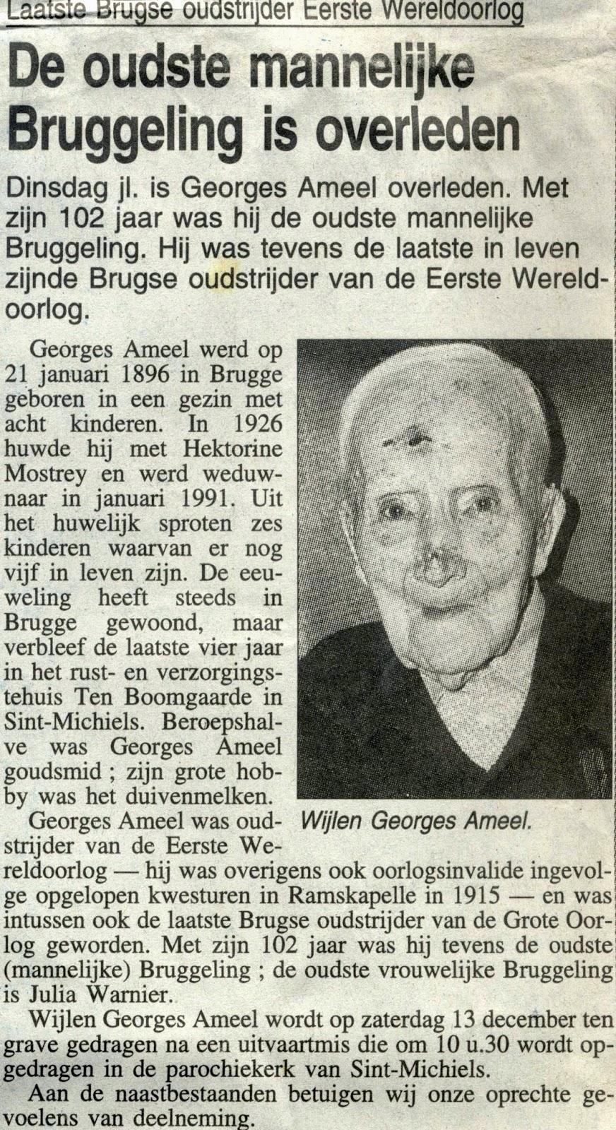 Oud-strijder Georges Ameel overleden. B.H. december 1997