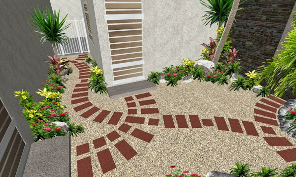 Patio con sendero creativo de adoqu n el ave f nix for Diseno de jardines pequenos fotos
