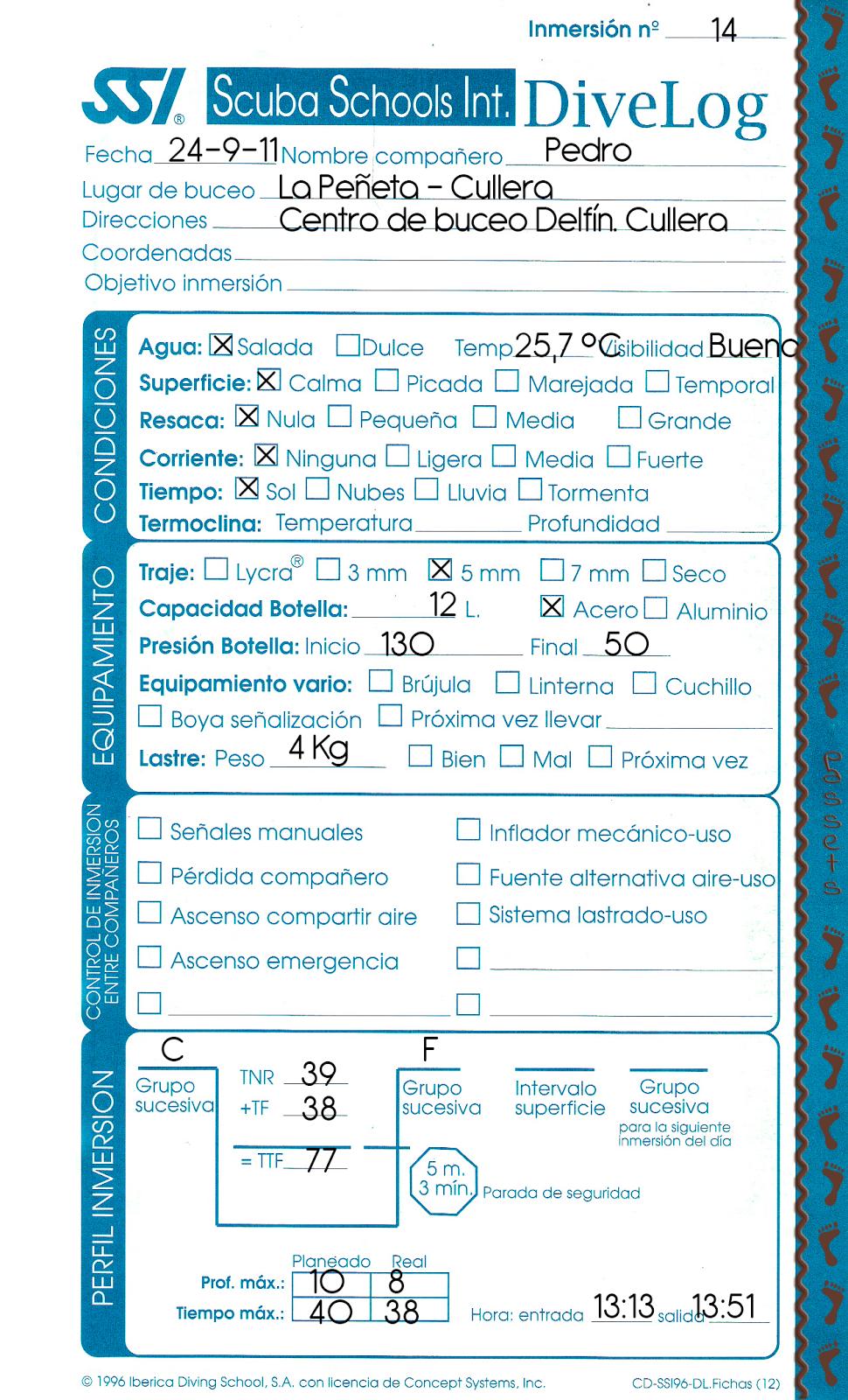 DiveLog - Inmersión y certificación Buceador nivel 2