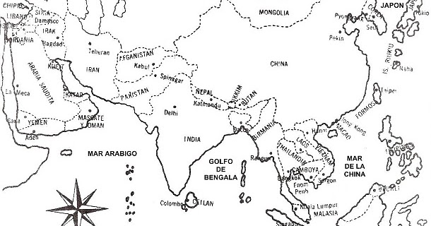 mapa de asia con nombres para colorear