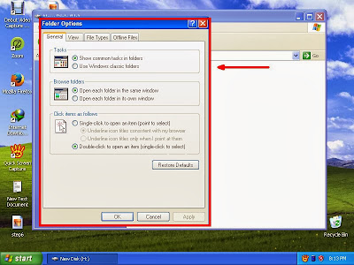 Learn how to disable show or don't show hidden files and folders in windowsXP step8