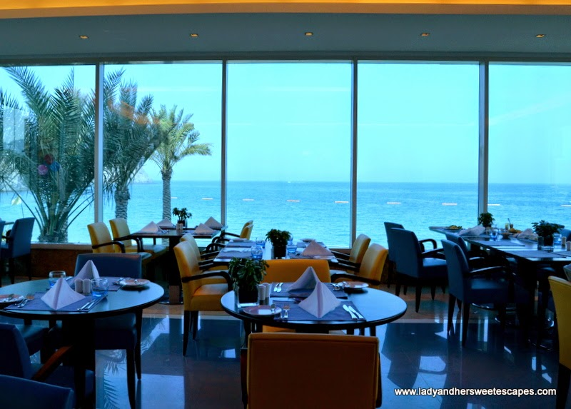 splendid view of the Indian Ocean from Al Murjan's dining hall