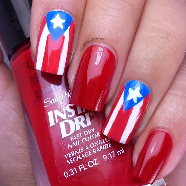 Puerto Rican Flag Nails