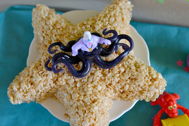 Mommy Testers Little Mermaid Cake, Rice Krispie treat cake, starfish cake #DisneyPrincessPlay #shop #cbias