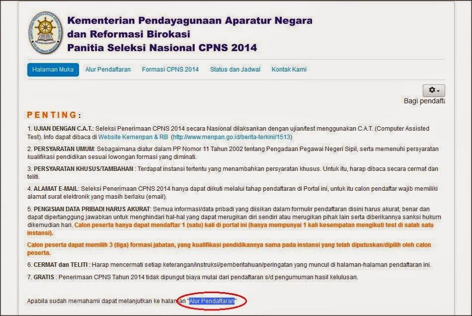 cara daftar CPNS online 2014