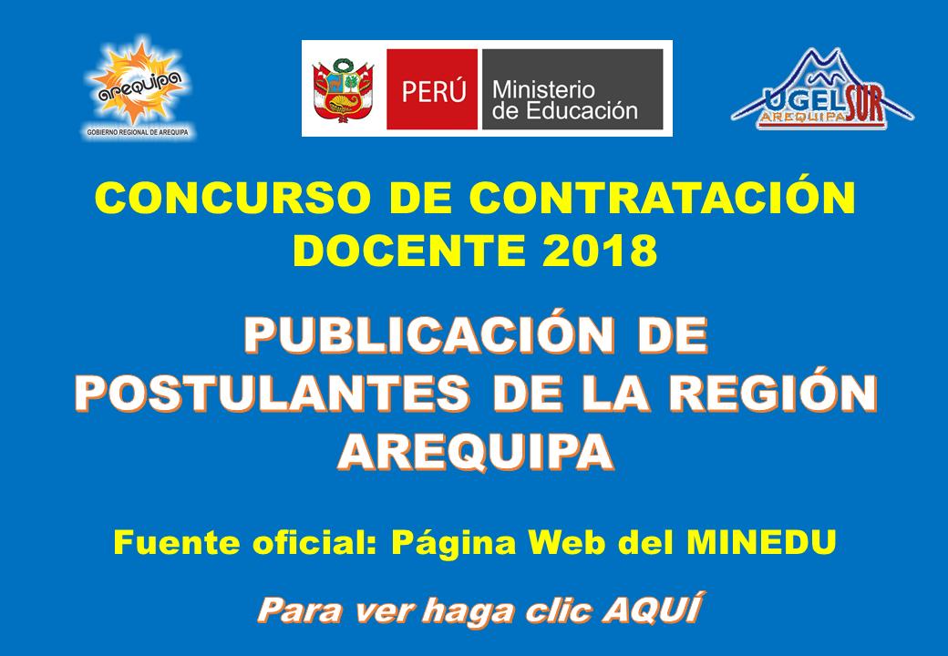 PUBLICACIÓN DE POSTULANTES DE LA REGIÓN AREQUIPA