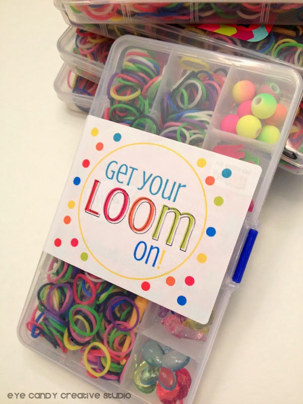 get your loom on, online labels, rainbow loom decor, rainbow party