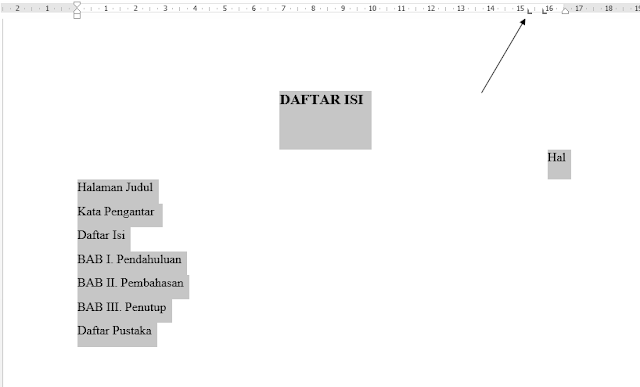 Cara membuat titik-titik dengan cepat pada daftar isi