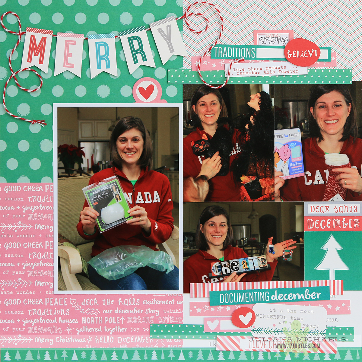 Merry Christmas Scrapbook Page by Juliana Michaels for Elle's Studio featuring Good Cheer