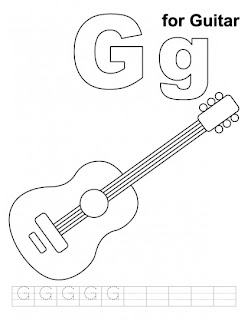 Letter G For Guitar Coloring Pages