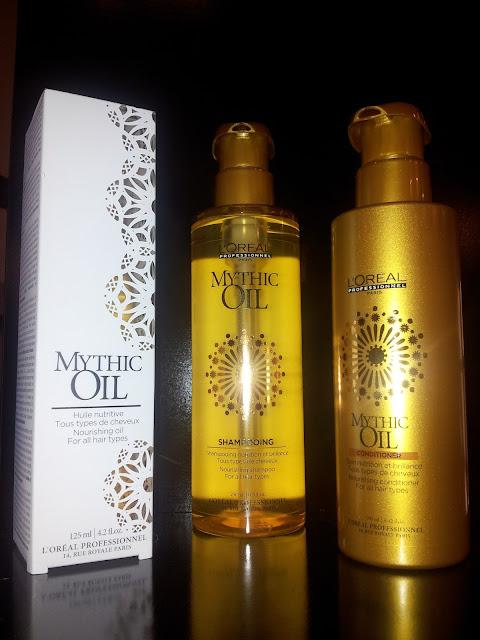 Gamme de produits Mythic Oil, shampoing, conditionner et huile.
