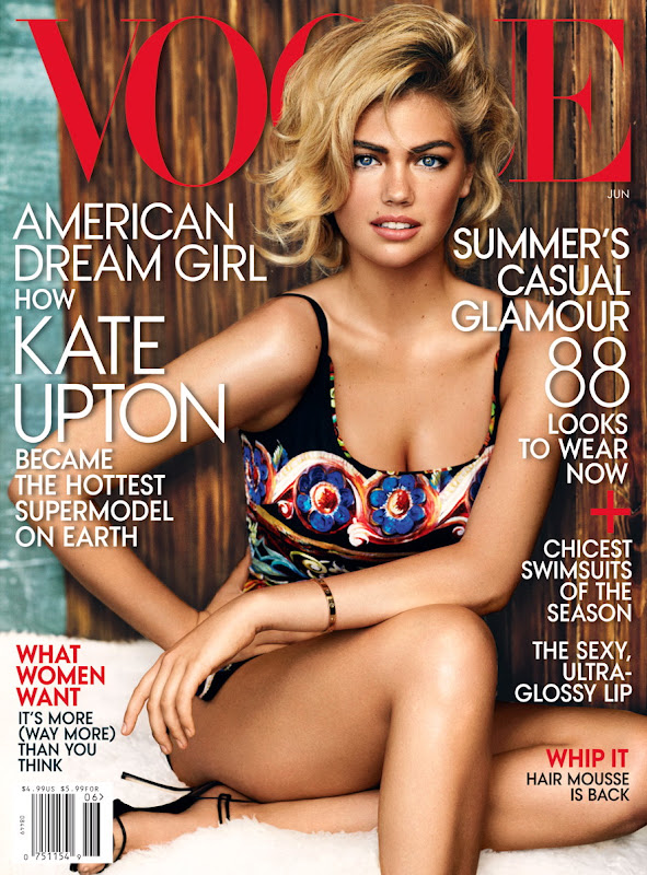 Kate Upton on the cover of Vogue June 2013 issue in swimsuit