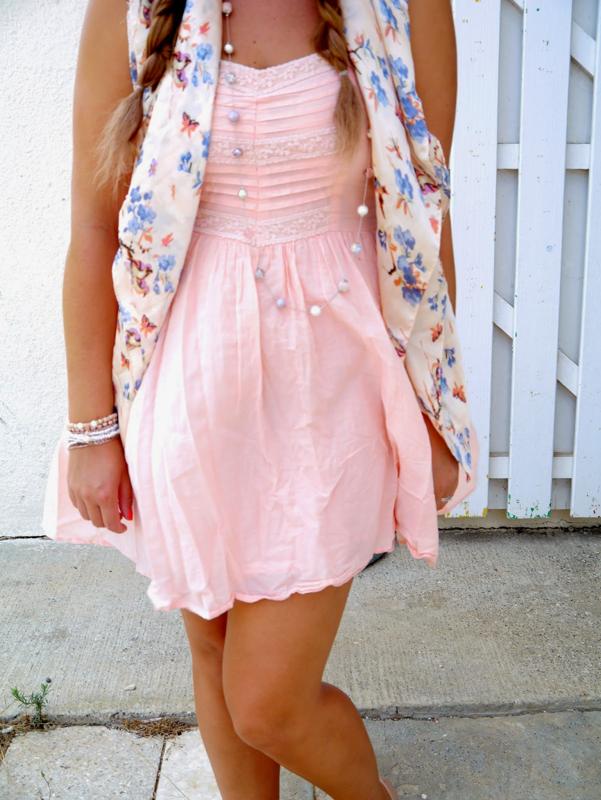photo of pink dress outfit from republic and topshop ballet pumps
