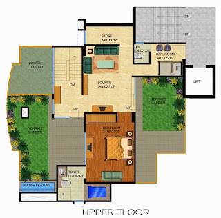 Emerald Court :: Floor Plans,Aster / Bluestone 1 Penthouse:-Upper Floor3 Bedrooms, 4 Toilets, Kitchen, Dining, Drawing, 2 Balconies, Family Lounge, Store, Servant Room with Toilet, 2 Terrace Gardens with Water Feature Area - 2565 Sq Ft 700 Sq. Ft. Terrace Area