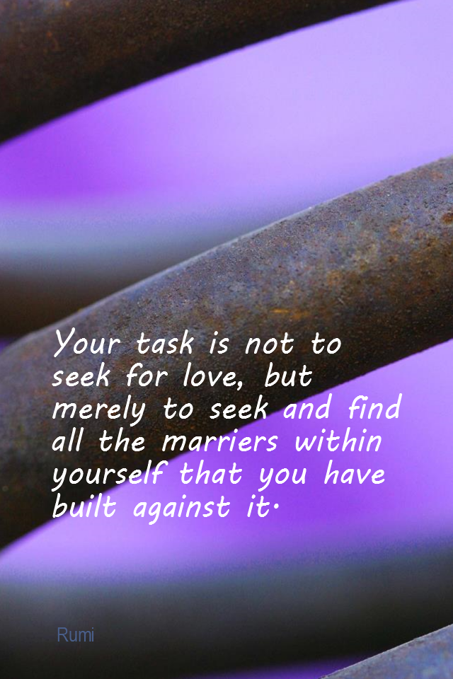visual quote - image quotation for LOVE - Your task is not to seek for love, but merely to seek and find all the barriers within yourself that you have built against it. - Rumi