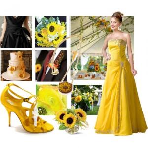International fashion sunflower themed wedding for Sunflower dresses for wedding