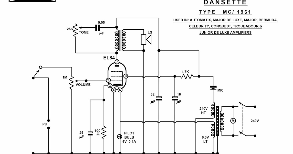 dansette workshop  a4 circuit diagrams for mc1961 and dt amplifiers  redrawn by our art dept