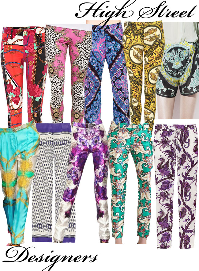 scarf print trousers,scarf prints, silk print, patterns,prints, fashion trends, trends, spring summer 2012,d&g,thakoon, prabal gurund, gucci, alberta ferretti, river island, miso, topshop, zara