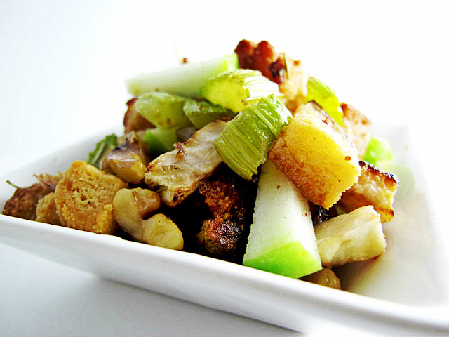 Gluten Free Recipe Savory Fennel, Green Apple, Walnut and Sweet Biscuit Holiday Stuffing by Beth Hemmila