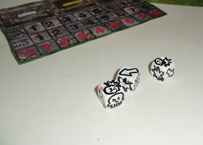 Blood bowl, homemade, DIY, Blocking dice