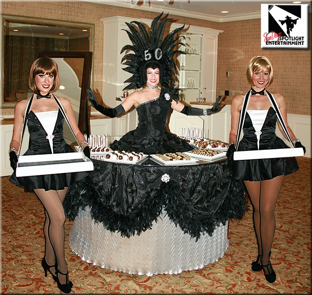 strolling table and classic cigarette girls in black and white