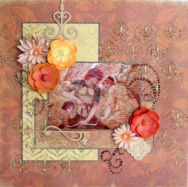 The Golden Touch layout by Ilene Tell using BoBunny Enchanted harvest collection (stage 2)