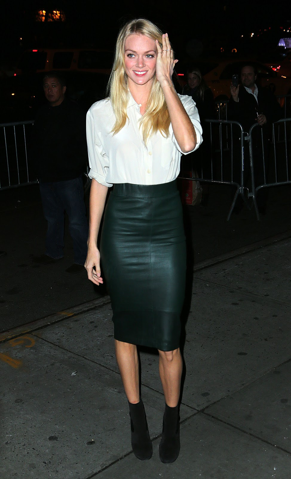 image Tight leather skirt with long zipper