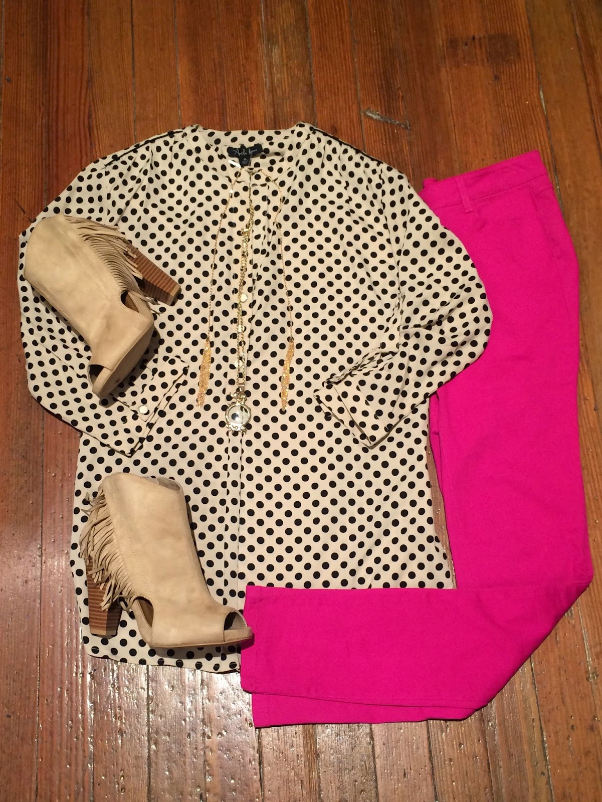 Look of the Day Polka Dot Craze Top Fringe Booties | blog.sassyshortcake.com