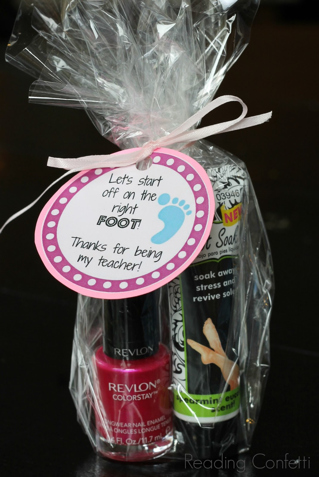Easy back to school teacher gift idea reading confetti nail polish and foot lotion make a great back to school gift for teachers when paired negle Image collections