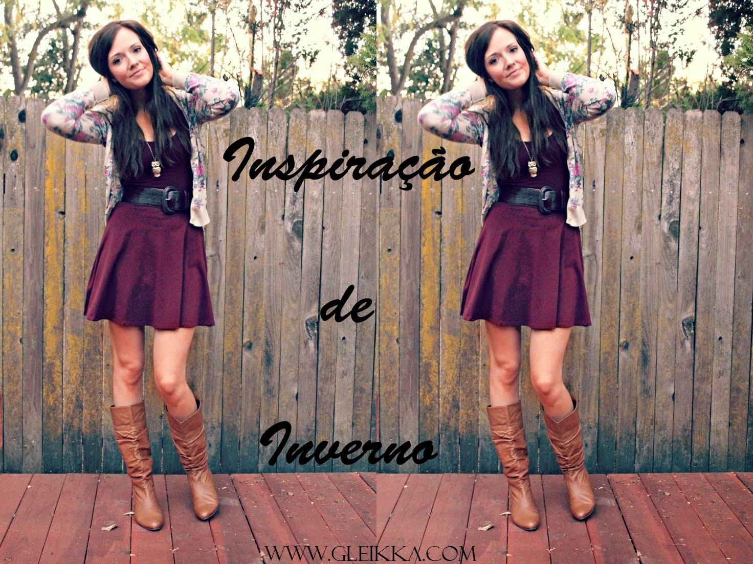 blog Gleikka, Inspiração de inverno, look do dia, como usar vestido no inverno, vestido e bota, burgundy, tendência inverno 2014, look feminino, cardigan estampado