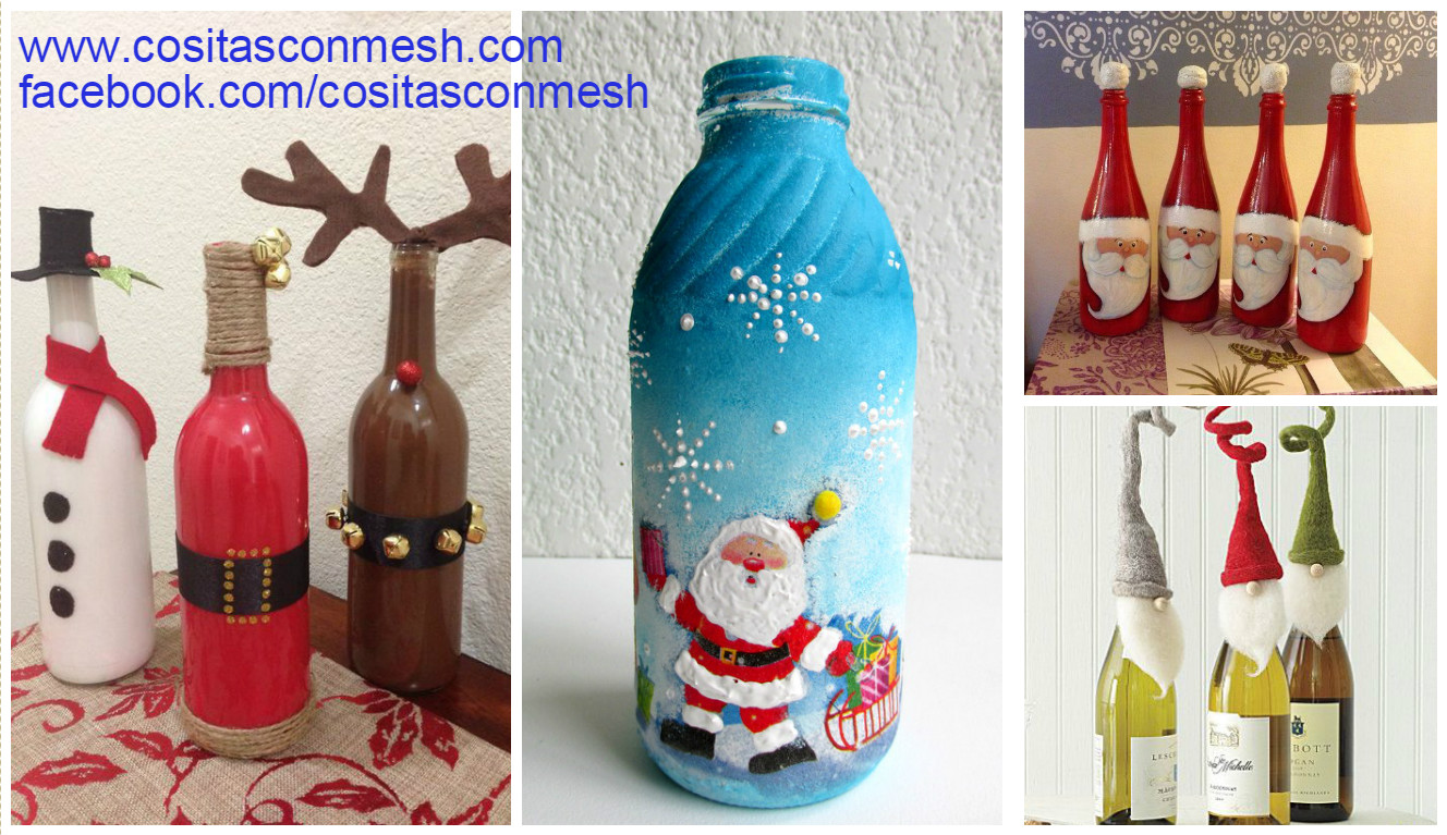 Manualidades y navidad botellas navide as decoradas for Adornos navidenos reciclados con botellas de plastico paso a paso