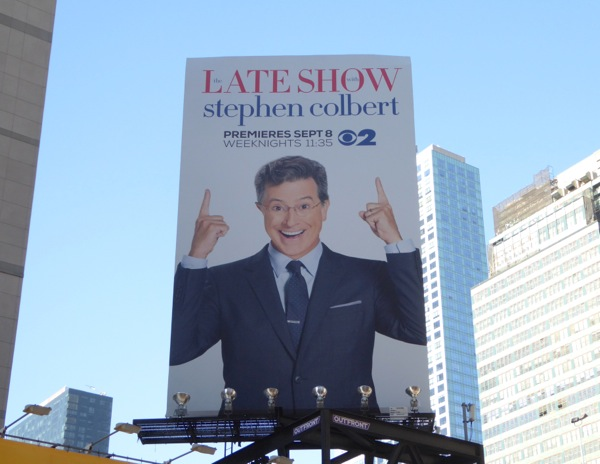 Late Show Stephen Colbert billboard NYC