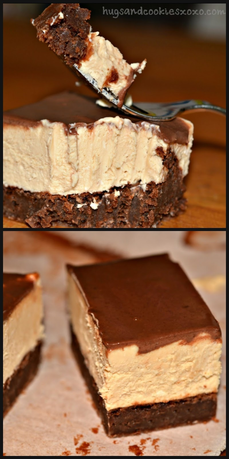 PEANUT BUTTER CHEESECAKE BROWNIE BARS WITH GANACHE - Hugs and Cookies ...