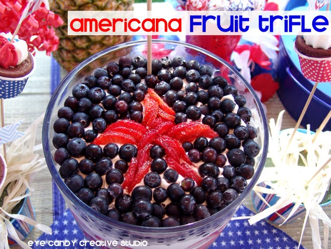 fruit trifle recipe, blueberries, strawberries, pound cake, 4th of July, cookout