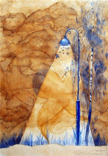Пейзаж нарисованный чаем павич
