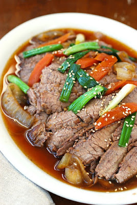 Slow Cooker Korean Beef Bulgogi from Korean Bapsang featured on SlowCookerFromScratch.com.