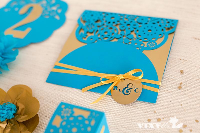 invitatie nunta auriu si turoaz