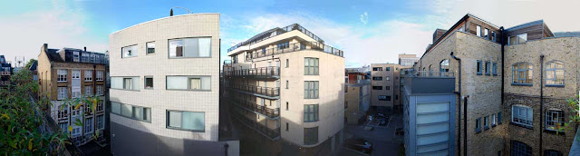 180 degree panorama looking west from the roof of Block K, the Printer's Yard, 175 Bermondsey Street, London SE1 Southwark