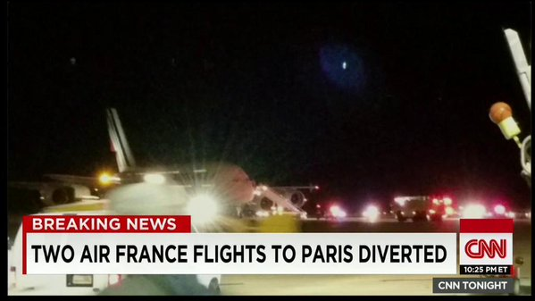 flights to paris diverted