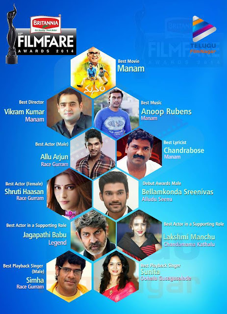 Britannia Film Fare Awards 2014 List ,Film Fare Award winners,Telugu cinema awards ,Telugucinemas.in Britannia Film Fare Awards 2014 details