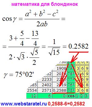 Куб и угол между прямыми. Вычисление косинуса и нахождение угла между прямыми. Применение теоремы косинусов и таблицы косинусов. Математика для блондинок.