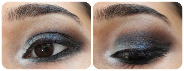 Jordana Eye Glam Cream Eyeshadow in Sapphire Stone review swatches pakistan, Blue Smokey Eye,