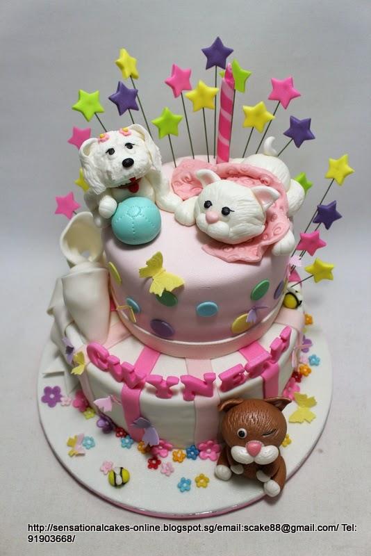 The Sensational Cakes Cute Puppy Kitten Birthday Cake Singapore